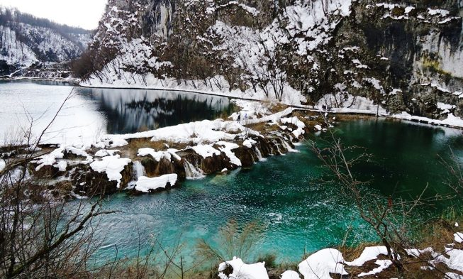 Plitvice lakes in winter